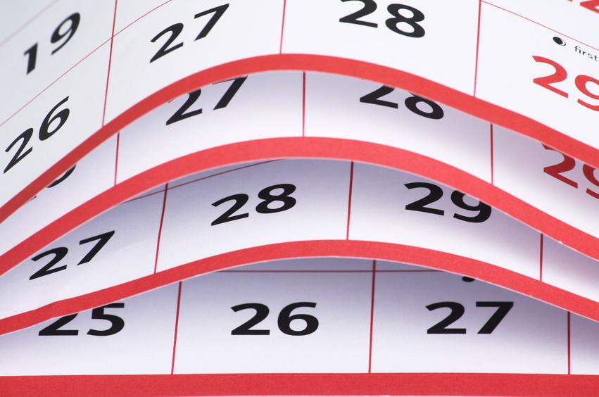 Listy nástěnného plánovacího kalendáře